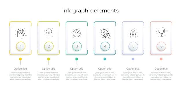 Infographie de diagramme de processus d'affaires avec 6 rectangles d'étape graphique de flux de travail d'entreprise rectangulaire