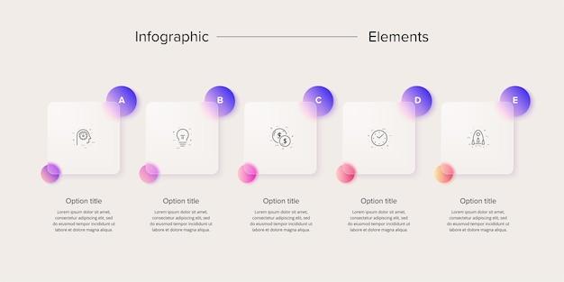 Infographie de diagramme de processus métier avec des carrés de 5 étapes éléments de flux de travail d'entreprise rectangulaires
