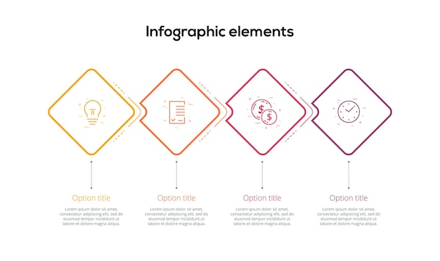 Infographie de diagramme de processus métier avec des losanges à 4 étapes éléments graphiques de workflow d'entreprise carré