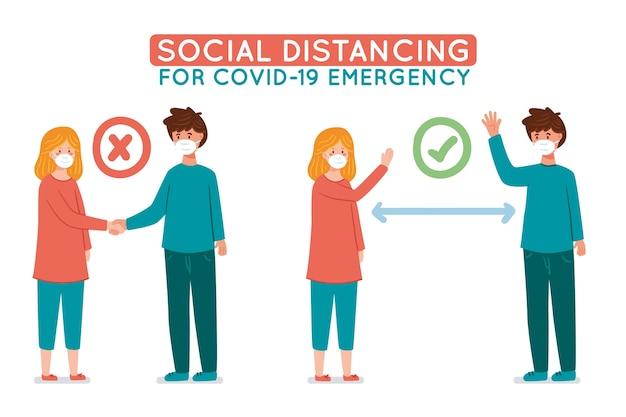 Infographie de distanciation sociale