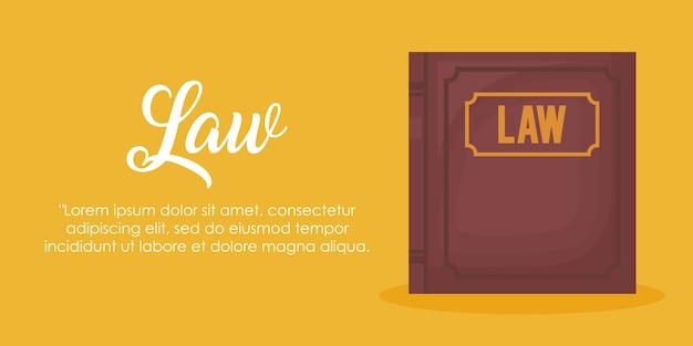Infographie de droit et de justice avec l'icône de livre de droit sur fond jaune