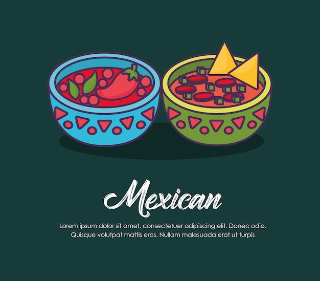 Infographie du concept de mexique avec des sauces bols mexicains sur fond vert, design coloré. vect