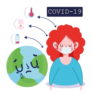 Infographie du coronavirus covid 19, fièvre, toux, symptômes mondiaux de la toux et illustration de la prévention