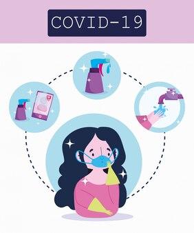 Infographie du coronavirus covid 19, fille avec un masque médical, illustration vectorielle de processus de prévention