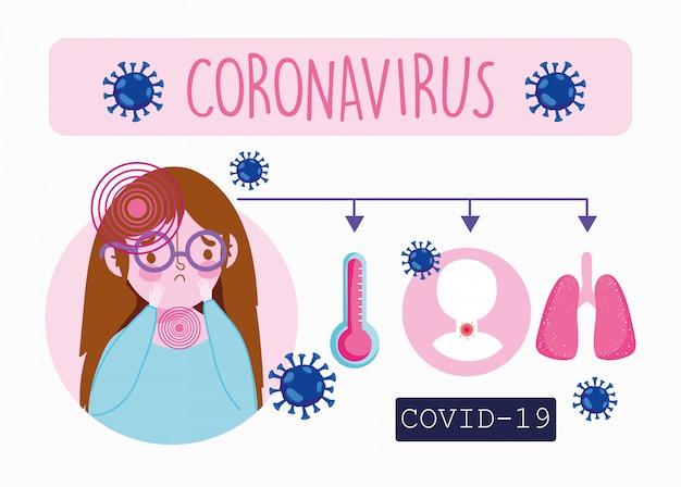 Infographie du coronavirus covid 19, patiente malade présentant des symptômes fièvre toux