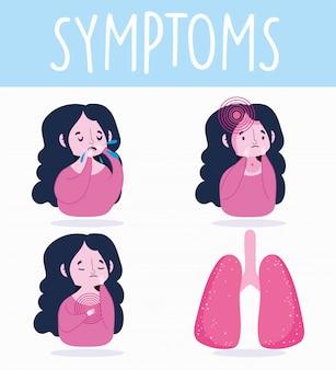 Infographie du coronavirus covid 19, symptômes humains, maux de tête, toux et douleurs thoraciques