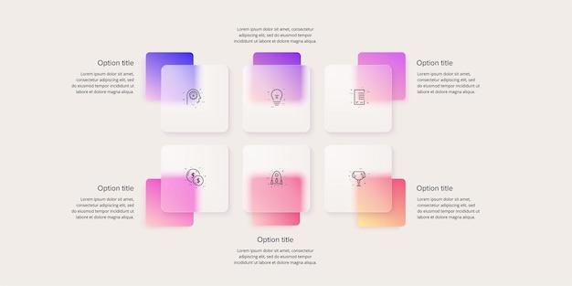 Infographie du diagramme de processus métier avec 6 carrés d'étape diapositive de présentation de l'organigramme de l'entreprise