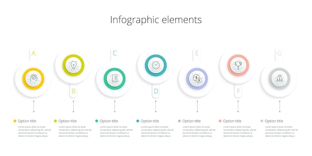 Infographie du diagramme de processus métier avec 7 options d'étape graphique de workflow d'entreprise square