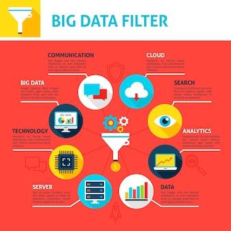 Infographie du filtre big data. illustration vectorielle design plat du concept d'analyse commerciale.