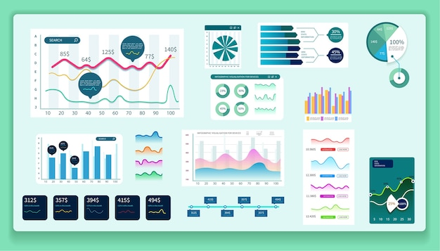Infographie du tableau de bord. diagrammes, analyses et autres éléments.