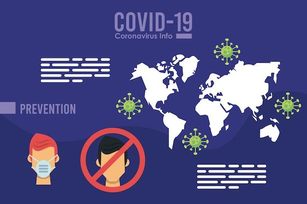 Infographie du virus corona avec utilisation de masque facial campagne vector illustration design
