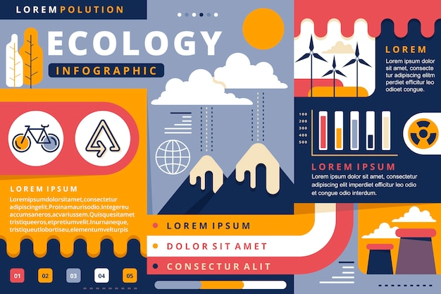 Infographie de l'écologie design plat avec des couleurs rétro