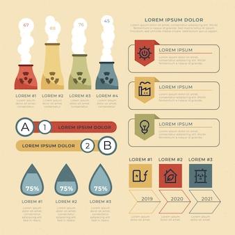Infographie de l'écologie plat avec des couleurs rétro
