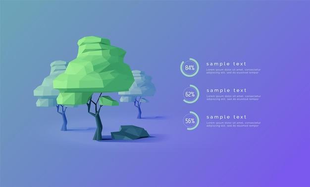 Infographie écologique avec des arbres low poly diagrammes pourcentages barre de progression arbre 3d présentation de la bannière d'infographie web écologie forestière illustration vectorielle moderne abstrait