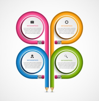 Infographie éducative, crayons enroulés dans différentes directions.