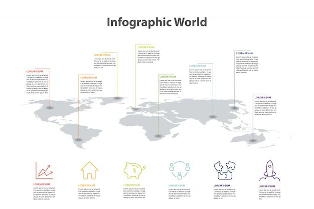 Infographie d'élément de carte du monde