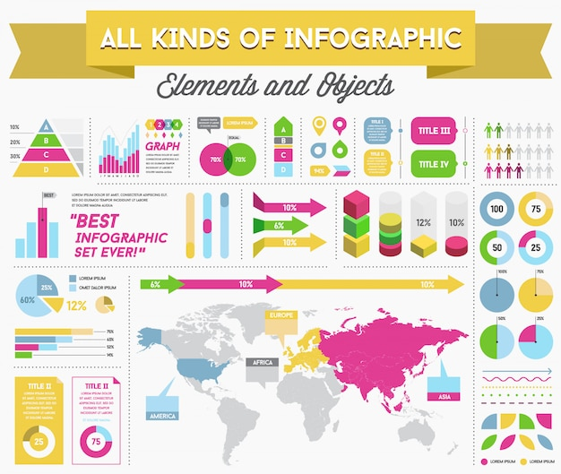 Infographie elements and objects big huge set