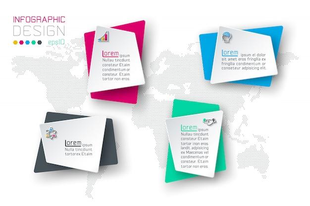 Infographie de l'entreprise avec 4 étiquettes.
