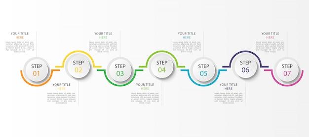 Infographie d'entreprise avec 7 étapes ou options
