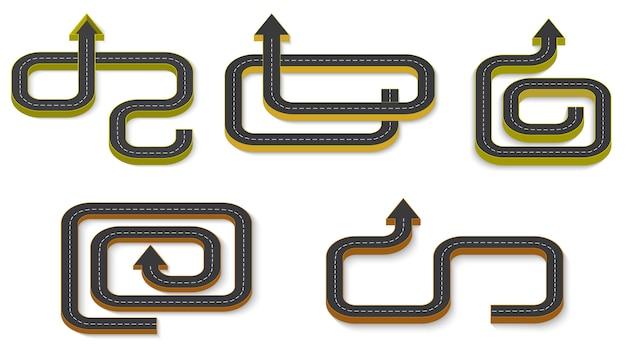 Infographie de l & # 39; entreprise abstraite sous la forme d & # 39; une route automobile avec des marquages routiers