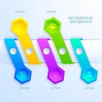 Infographie entreprise abstraite web avec icônes cinq rubans colorés et hexagones