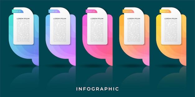 Infographie de l'entreprise. chronologie avec 5 étapes, étiquettes. élément d'infographie de vecteur.