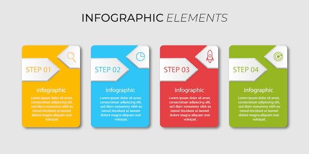 Infographie d'entreprise de conception avec 4 étapes