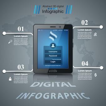 Infographie de l'entreprise. icône de la tablette numérique