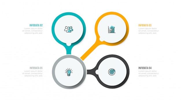 Infographie d'entreprise avec des icônes de marketing et 4 étapes, options.