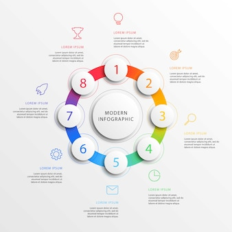 Infographie de l'entreprise moderne avec des éléments ronds 3d réalistes. modèle de rapport d'entreprise avec le marketing en ligne plate