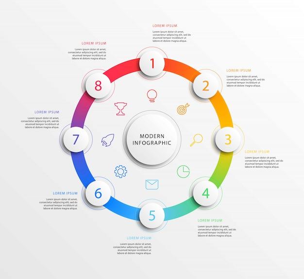 Infographie de l'entreprise moderne avec des éléments ronds 3d réalistes
