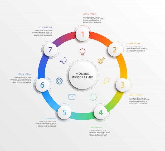 Infographie de l'entreprise moderne avec des éléments ronds 3d réalistes.
