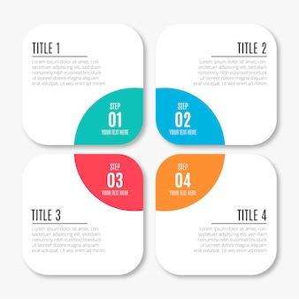 Infographie de l'entreprise moderne avec des étapes colorées