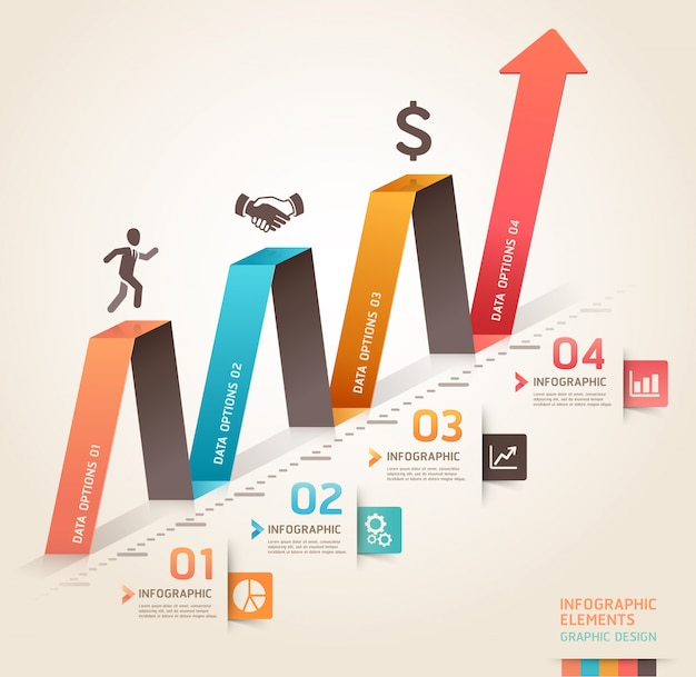 Infographie de l'entreprise moderne origami arrow template.c