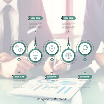 Infographie de l'entreprise moderne avec photo