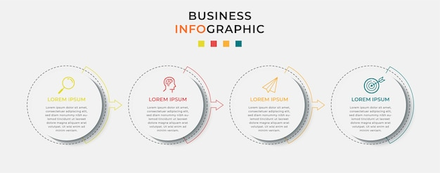 Infographie de l'entreprise avec des options ou des étapes.
