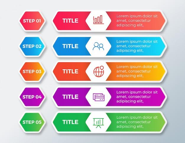 Infographie de l'entreprise avec options d'étapes