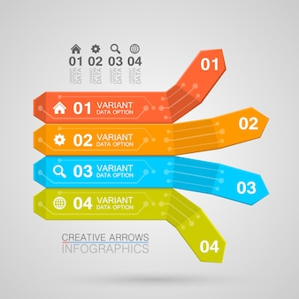 Infographie d'entreprise style origami flèche illustration vectorielle.