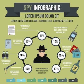 Infographie d'espion dans le style plat pour n'importe quelle conception