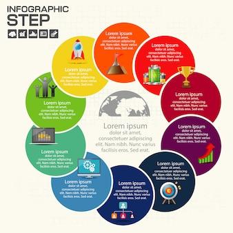 Infographie étape par étape. camembert, graphique, diagramme avec 10 étapes,