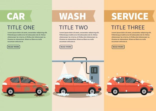 Infographie étapes illustration vectorielle de lavage de voiture.