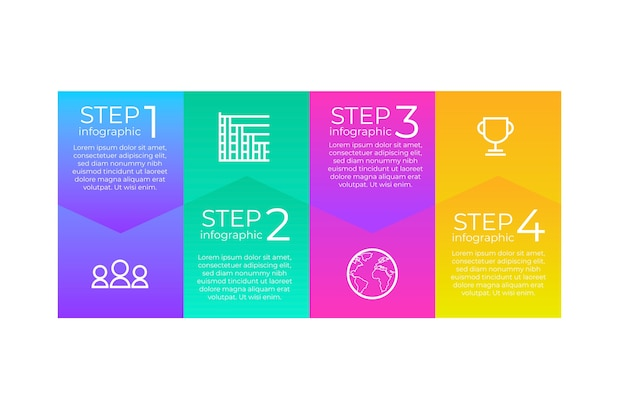 Infographie d'étapes multicolores