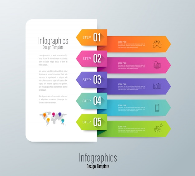 Infographie avec étapes et options