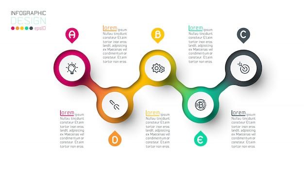 Infographie d'étiquette de cercle avec étape par étape