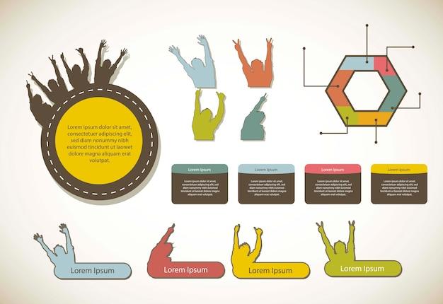 Infographie avec étiquettes vector illustration de style vintage
