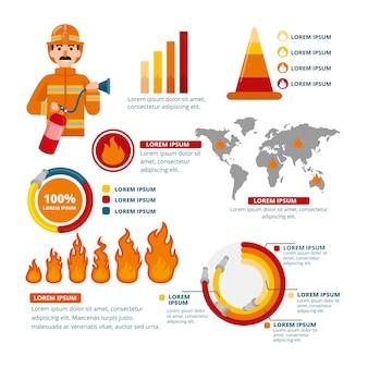 Infographie de feu design plat