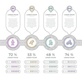 Infographie de feuille de route plate linéaire