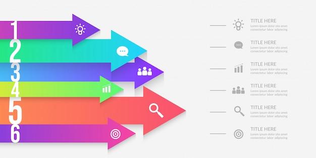 Infographie de flèche avec segments modifiables, éléments de flux de travail graphiques colorés