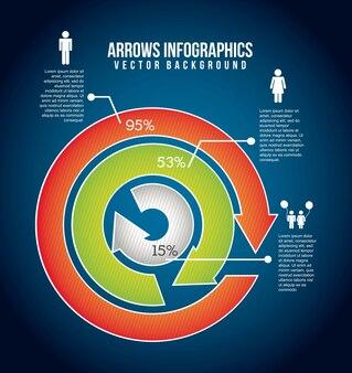 Infographie de flèches au cours de l'illustration vectorielle fond bleu
