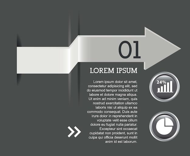 Infographie de flèches au cours de l'illustration vectorielle fond gris